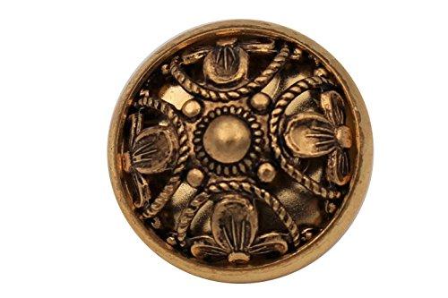 6 Stück ausgefallen schöne Gold antik altgold Metall Knöpfe Trachten Dirndl, gewölbt 13mm oder 18mm (13mm)