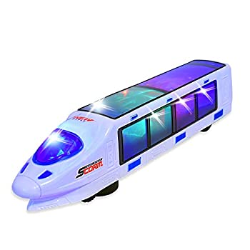 WolVolk Beautiful 3D Lightning Electric Train Toy for Kids with Music goes Around and Changes Directions on Contact