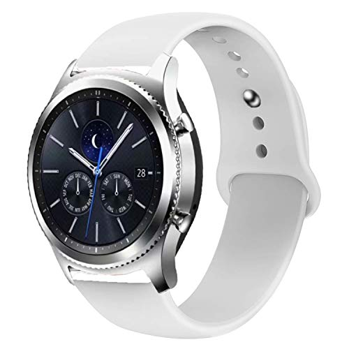 Odoan Silicone Watch Bands Compatible with Samsung Gear S3 Frontier Galaxy Watch 46mm, Quick Release Pins 22mm Replacement Watch Band (White, 22mm)