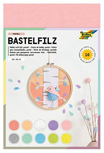 folia 520495 - Bastelfilz Pastell, feine Wollqualität, 10 Blatt, 150 g/qm, 20 x 30 cm, sortiert in 10 Pastellfarben, klebefleckenfreie Verarbeitung, ideal für vielfältige Bastelarbeiten