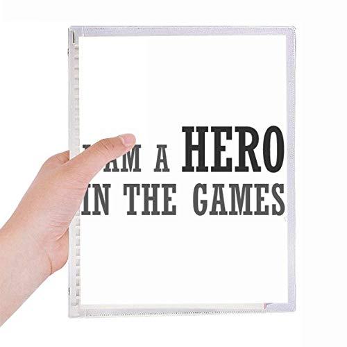 Caderno I Am A Hero In The Games com folhas soltas e diário recarregável