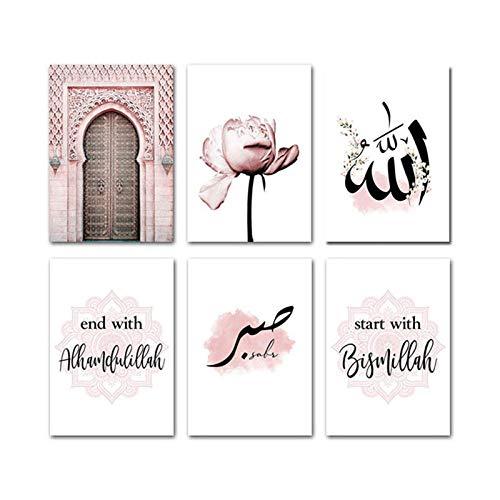 ZDFDC Islamische Allah Wandkunst Leinwand Poster rosa Blume altes Tor muslimischer Druck Bild Malerei Moderne Moschee Dekor-21x30cmx6 kein Rahmen