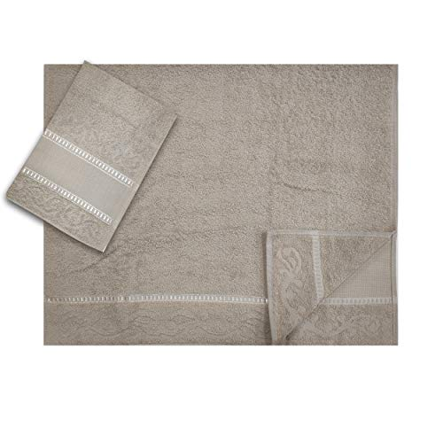 Panini Tessuti Juego de 2 toallas grandes y pequeñas de tela Aida de 9 cm para bordado, 100% algodón, fabricadas en Italia (Beige)