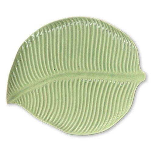 NOVICA Jungle Banana Leaf Ceramic Plate