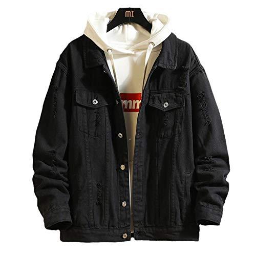 HBODHBGS Autumn Men's Denim Jackets Masculino Trendy Ripped Cowboy Bomber Abrigos Hombres Outwear Windbreaker Jean Jean Chaquetas Black XXL