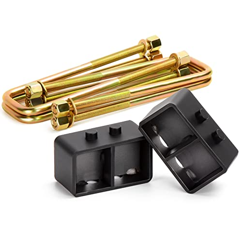 KSP 3'' Rear Leveling Lift Block Kits with Extra Long Square Leaf Spring Axle U...