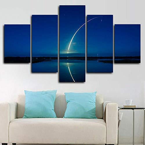 BDFDF Impresión Pintura Arte 5 Piezas Impresiones En Lienzo Cohete Falcon 9 Spacex Sky Space Cuadro sobre Lienzo Grande XXL Póster De Arte Moderno Oficina Sala De Estar O Dormitorio Decoración