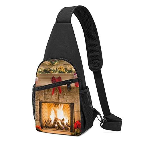 DJNGN Sling Rucksack Xmas Eve Kamin Geschenke & Rote Socken Sling Bag Umhängetasche Travel Hiking Chest Bag Daypack