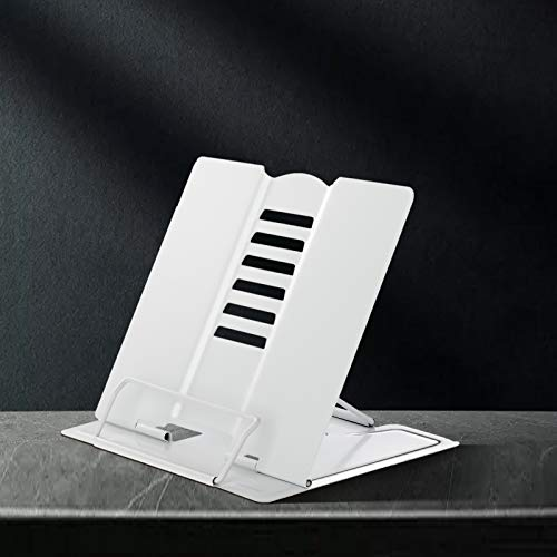 MSDADA Desk Book Stand Metal Reading Rest Book Holder Adjustable Cookbook Documents Holder Portable Sturdy Bookstands for Recipes Textbooks Tablet Music Books with Page Clips (White)