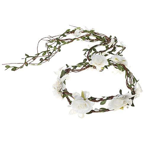 AWAYTR Boho nupcial guirnalda de flores diadema - mujeres niñas árbol ajustable hoja de ratán guirnalda de pelo floral decoración de fotografía de boda (Guirnalda doble blanca)