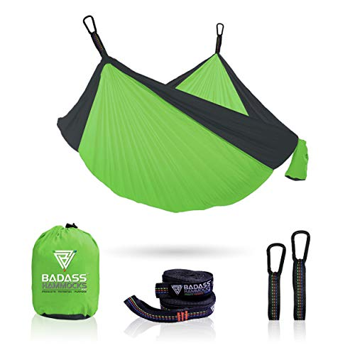 Badass Hammocks (Lime Green Gray, Double (1000 lb.)