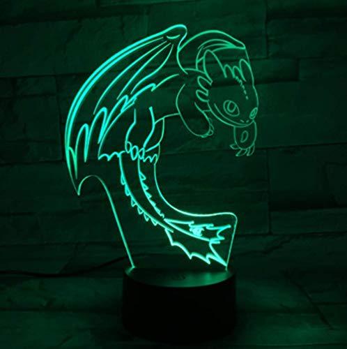 Luz Nocturna Cómo Entrenar A Tu Dragón Luz Nocturna Led Ilusión 3D Sensor Táctil Usb Rgbw Regalo Para Niños Regalo De Furia Nocturna Lámpara De Mesa Decoración De Escritorio