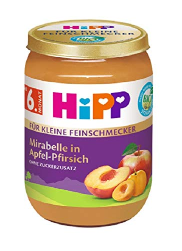 Hipp Früchte, Für kleine Feinschmecker, Mirabelle in Apfel-Pfirsich, 6er Pack (6 x 190 g)