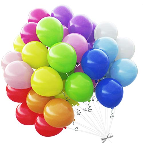 Decorlife Rainbow Balloons Arch Kit - 110 Pack 12 Inches Assorted Bright Colors Balloon Garland - Strong Latex Balloons Bulk for Helium or Air Use, Kids Unicorn Birthday Party Decoration