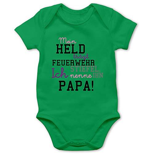 Shirtracer Feuerwehr Baby - Mein Held Papa Feuerwehrmann - 1/3 Monate - Grün - Baby Body Weihnachten - BZ10 - Baby Body Kurzarm für Jungen und Mädchen