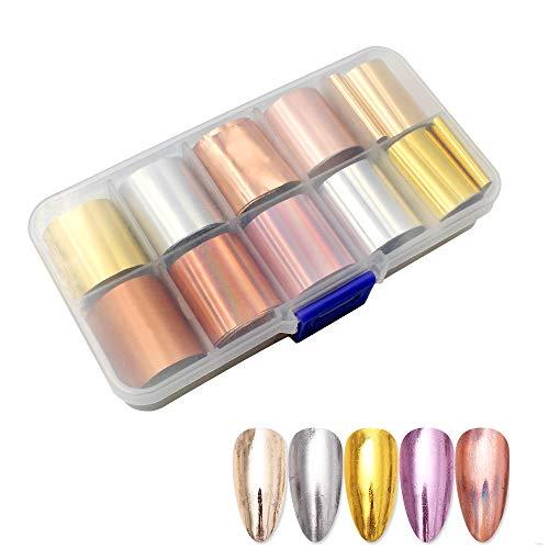 Hrroes Foil Per Unghie 10 Rotoli di Adesivi per Unghie Stickers Decorazioni Unghie per Nail Art, 10 Colori
