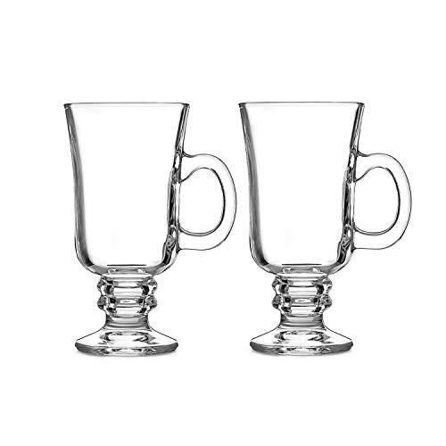 MeiShiLang Irish Coffee Glas, Latte Macchiato Glas, Tasse mit heißer Schokolade und Henkel(2-Pack)