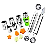 Fruit Vegetable Cutter Shapes Set, Mini Pie and Cookie Stamps Mold(8 pcs) with Melon Baller Scoop & Carving...