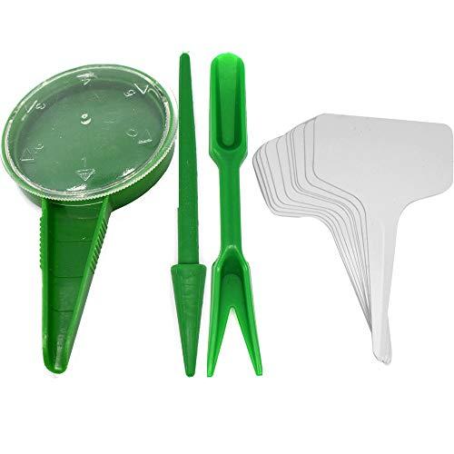 4er Set Mini Garten Sämling Werkzeug Sets - 100stk Pflanze T-Typ Tags - Pikierset, Pikierstab und Setzstab, Saatendispenser