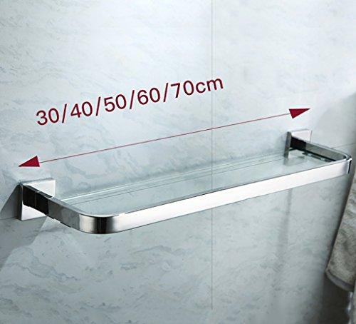 Bathroom Rack YSJ Verre trempé fixé au Mur en Verre rectangulaire d'étagère de Salle de Bains Extra épais, Sable argenté pulvérisé, (Taille : 70 * 14cm)