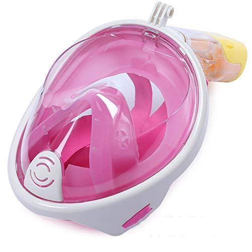 PXDM Máscara de Snorkel para Toda la Cara 180 ° Seaview fácil Respirar máscara de Buceo de Adultos, Snorkel con la mascarilla de Montaje de cámara Desmontable,Rosado,L/XL