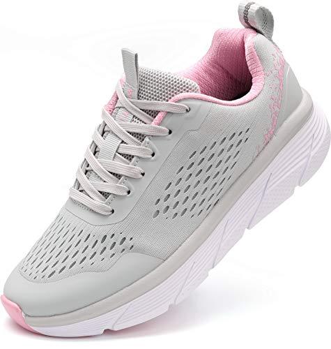 WHITIN Zapatillas Correr para Mujer Zapatos de Deportivas Aire Libre y Deportes Casual Montaña Trail Running Tenis Transpirables Sapatillas Aire Libre y Deportes Gimnasio Sneakers Gris 37