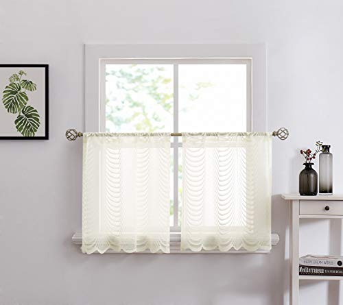 Warm Home Designs - Par de 2 estantes de cocina (crema), color marfil Cortinas festoneadas de café también ideales para cubrir la ventana del baño o del comedor. WA Ivory -...