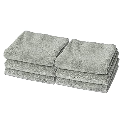 Eurow Microfiber Gentle and Fast Drying Absorbent Gym Fitness Exercise Towels, 350GSM, 16 by 27 Inches, Gray, 6 Pack