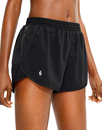 SANTINY Women's Running Shorts with Zipper Pocket Quick Dry Athletic Workout Gym Shorts for Women with Liner(Black_M)