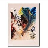 Suuyar Salvador Dali signé L/E lithographie MAD Tea Party de Alice in Wonderland Suite Toile Photos pour Salon décor Art-50x70 cm sans Cadre