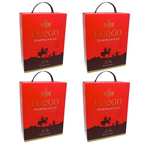 Bag-in-Box - Espagne - Tempranillo - Fuego - Spanien - La Mancha - Rotwein, trocken, Box mit:4 Boxen