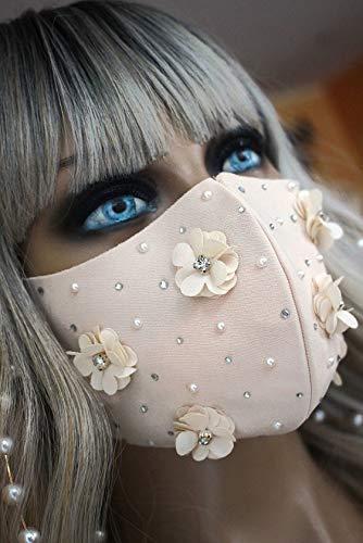 Mundschutz Maske Schutzmaske nude beige Blumen Braut Hochzeit Strass Glitzer Perlen