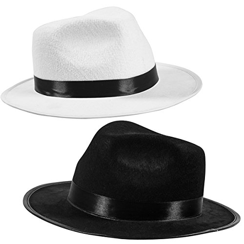 Funny Party Hats Black Fedora Felt Gangster Hat - Gentlemen Hats - Mobster Costume Accessory (2 Pack - Black & White)