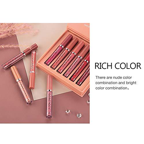 DAGEDA 6 Color Matte Velvet Lip Gloss Set, Long Lasting Waterproof Liquid Lipstick Lip Gift Box(Set B)
