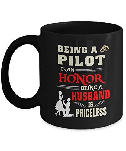 N\A Lo Mejor para mi Taza de Marido - ser piloto es un Honor ser Marido no Tiene Precio - cerámica Negra