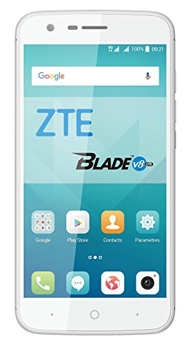 "ZTE V8 Lite - Smartphone Libre de 5"" (4G, Octa-Core 1.5GHz, 2 GB RAM, Almacenamiento Interno de 16 GB, Bluetooth, WiFi, Android) Color Plata"