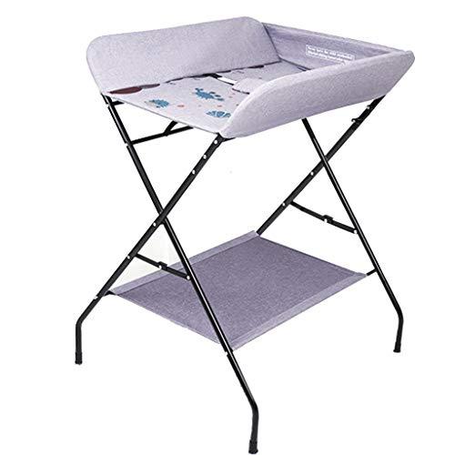QZ Tables à Langer Table à Langer Pliante pour Petits espaces, Commode avec Table à Langer pour bébé, garçon et garçon, 0-3 Ans, Rose/Gris