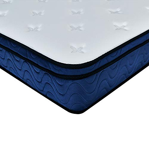 U-Kiss Double Memory Foam Mattress 4ft1000 Pocket Sprung Bed Mattress 10.6 Inch with Hypoallergenic Knitted Fabric and Breathable Mesh for Bedroom/Guest Room,Medium Feel (90 * 190 * 24cm)