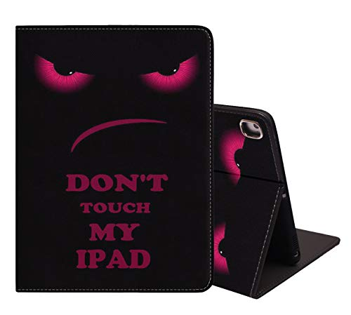 iPad 9,7 2018/2017, iPad Air 1/2, weiche Gummi-Rückseite, , Lederhülle, verstellbarer Ständer, automatische WakeundSleep-Smart-Hülle für iPad 6. / 5. Generation – Don't Touch My iPad