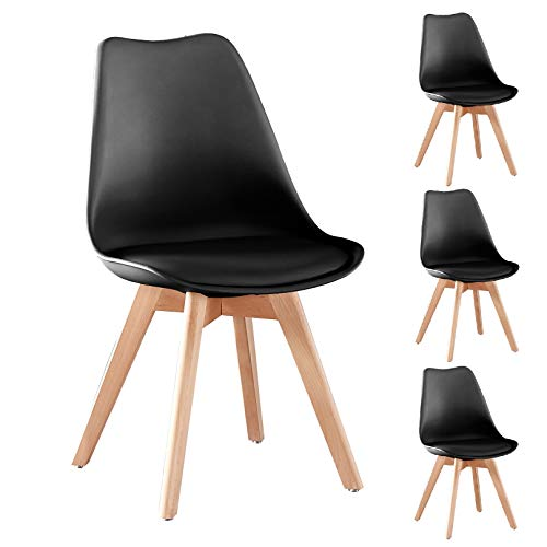 Merax Modern Living Dining Room Chairs Set of 4, with Wood Legs and Soft Cushion for Kitchen Bedroom, Black