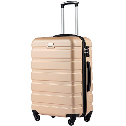 COOLIFE Suitcase Trolley Carry On Hand Cabin Luggage Hard Shell Travel Bag Lightweight 2 Year Warranty Durable 4 Spinner Wheels(Champagne, M(65cm 60L))