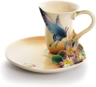 Franz Porcelain Red Spotted Purple Butterfly Cup & Saucer Set, FZ01670
