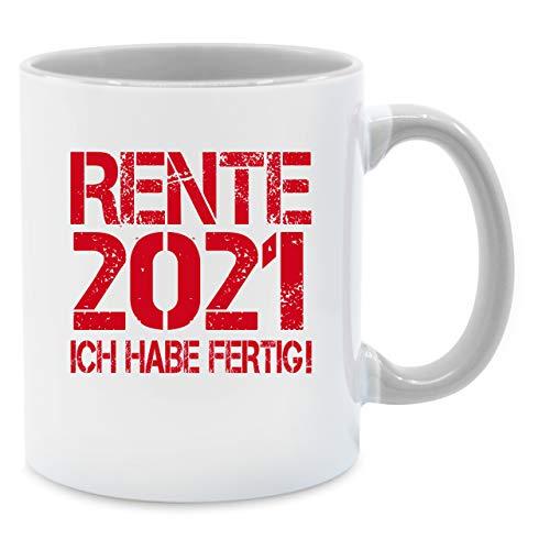 Shirtracer Tasse Berufe - Rente 2021 - Ich Habe fertig! - Unisize - Hellgrau - Rentner Geschenk - Q9061 - Kaffee-Tasse inkl. Geschenk-Verpackung