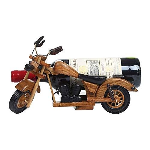 Botellero Vino Almacenamiento de vino titular de la motocicleta del estilo de vino en rack Decoración cocina del restaurante de madera rojo vino rack encimera Gabinete Bodega Estantería Vino
