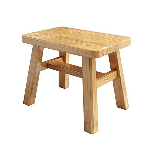 DRAGXBD Holz Hocker,Modernes Unbedeutendes Kinderhocker,Es Gilt Für Schlafzimmer Wohnzimmer,Oma Bambus Tragen/Holzfarbe / 28x18x30cm