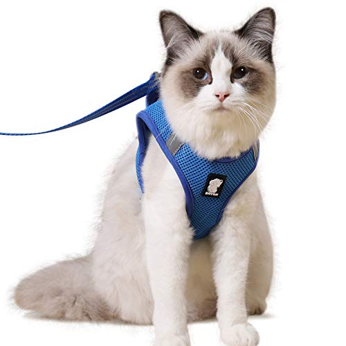 Wooruy Juego de arnés y correa para gato para caminar 360° envolvente alrededor de pequeño gato y perro reflectante arnés acolchado y antiescape adecuado para cachorros conejos con tela catiónica