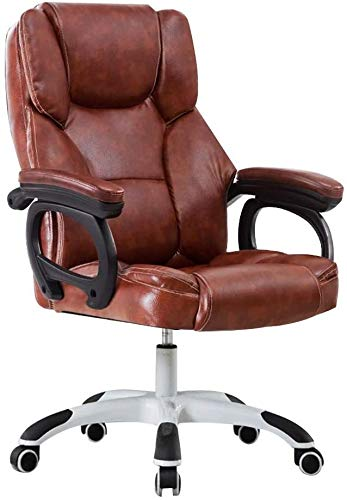 Barstools THBEIBEI Reclining Ergonomic Racing Office Chair High-Back Leather Desk Gaming Chair Racing Style High-Back PU Leather Office Chair for Office Meeting Room Athletic Chair (Color : Brown)
