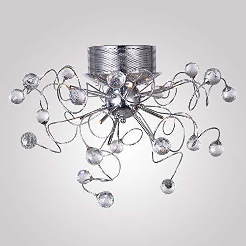 Plafón de Techo De LED lámpara de cristal Moderna, lámpara de Techo aparato de yeso en Mini estilo para Sala de estudio/Oficina, comedor, Dormitorio, Salón 9X G4Blanco cálido