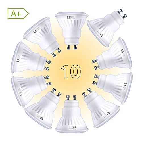 FOREVER GU10 LED Lampe 10W Ersetzt 66W Glühbirne 900lm 10 STK Set Watt Lumen Leuchtmittel 3000 Kelvin warmweiß Fassung [Energieklasse A+]