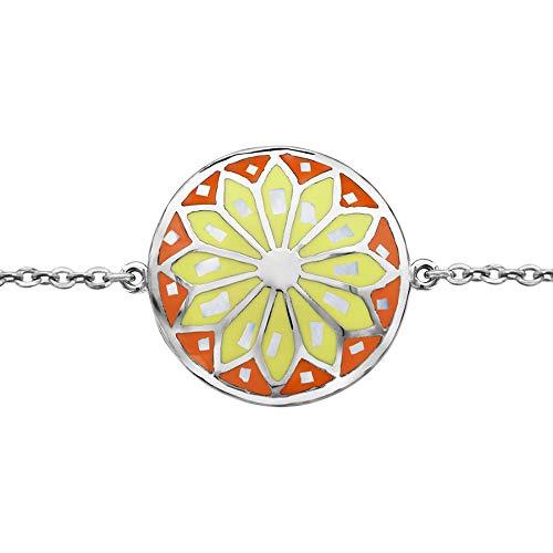 1001 Bijoux Bracelet Acier Motif Rond Stella Mia dégradé Jaune Orange et Nacre Blanche 16+3cm + écrin (Offert)